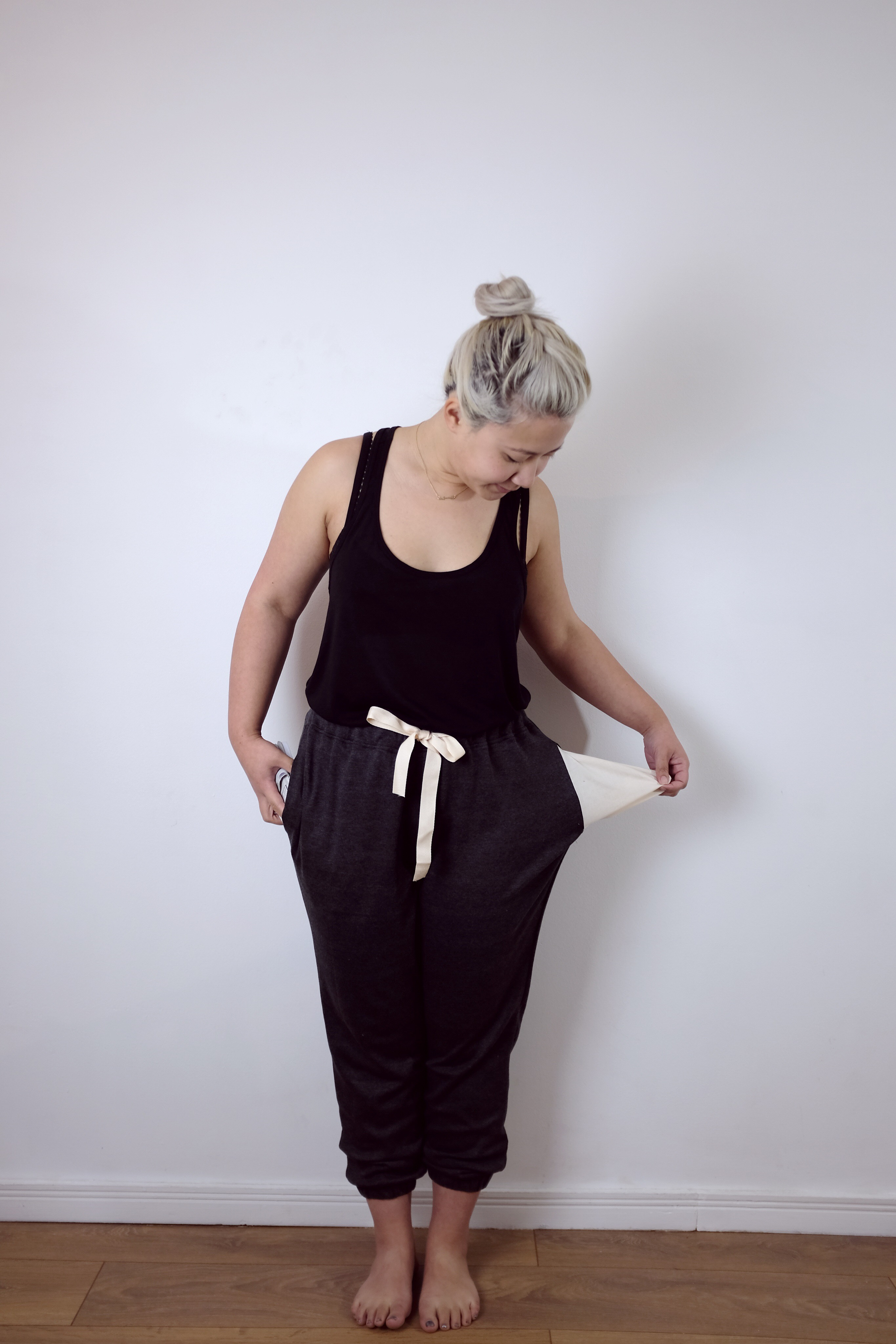 Slouchy lounge pants from the Fashion with Fabric sewing